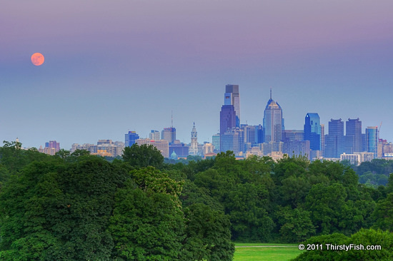 Moonrise over Philadelphia; July 12 2022