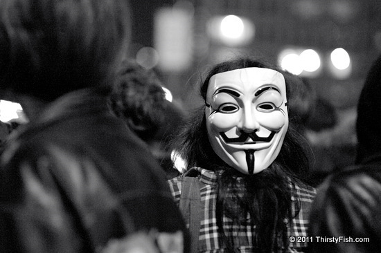 Occupy Wall Street: #N17, Guy Fawkes on Brooklyn Bridge