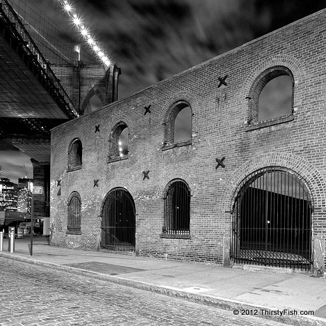 Tobacco Warehouse; Brooklyn Bridge - Black and White Version